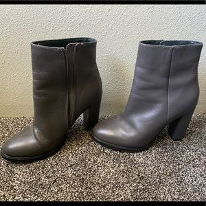 Grey ankle heel boot thick Seychelles